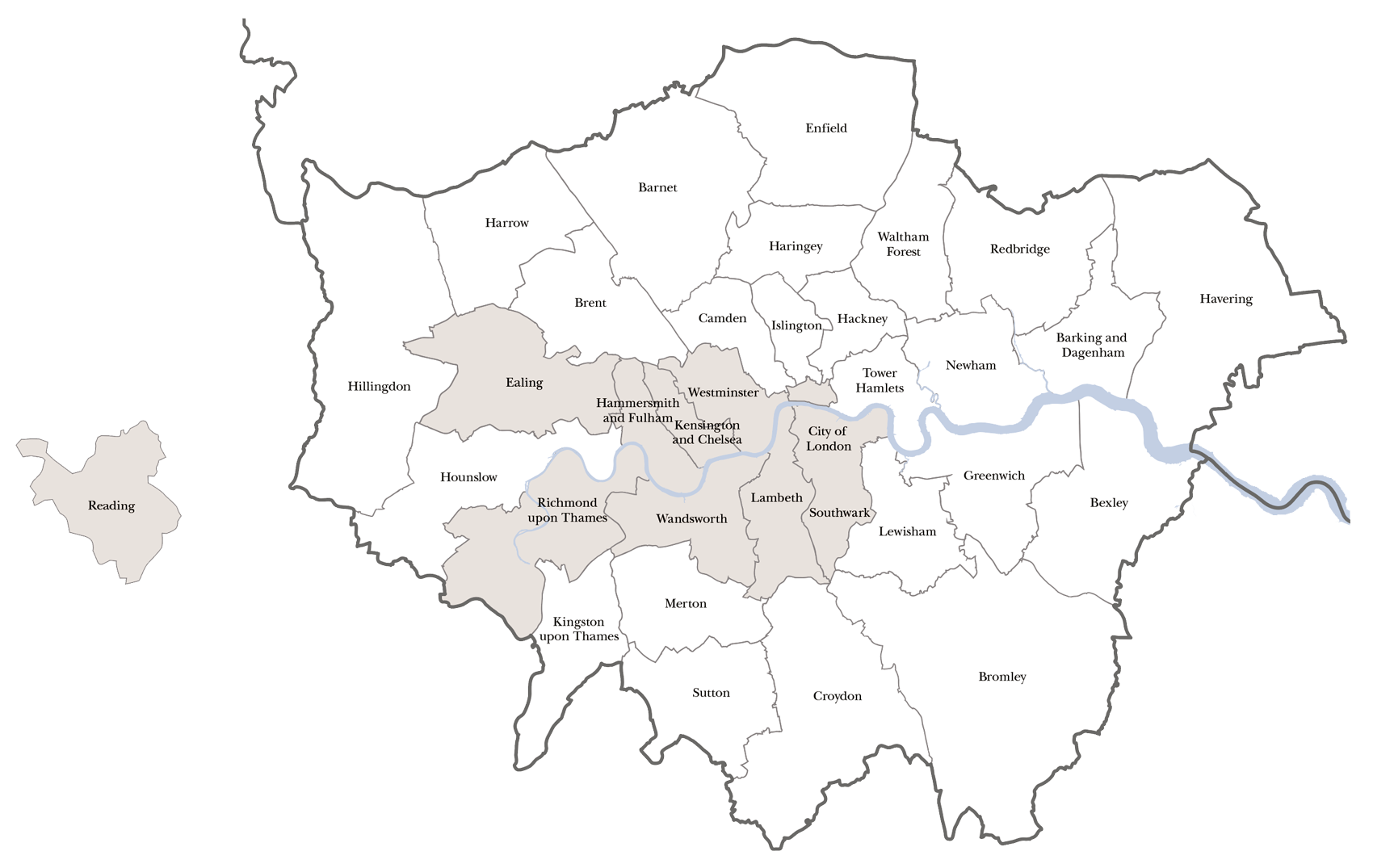 key boroughs london map